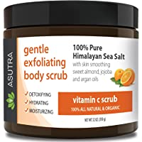 "ASUTRA Organic Exfoliating Body Scrub - ""VITAMIN C SCRUB"" - 100% Pure Himalayan Sea Salt Scrub/Ultra Hydrating & Moisturizing with SKIN SMOOTHING Jojoba, Sweet Almond & Argan Oils - 12oz"