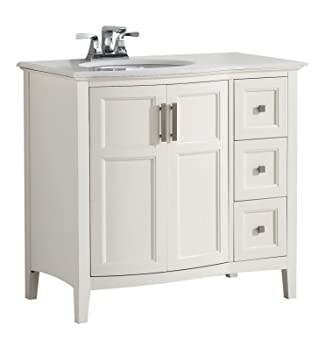 Simpli Home Winston 36 Quot Bath Vanity Rounded Front With Quartz Marble Top Soft White