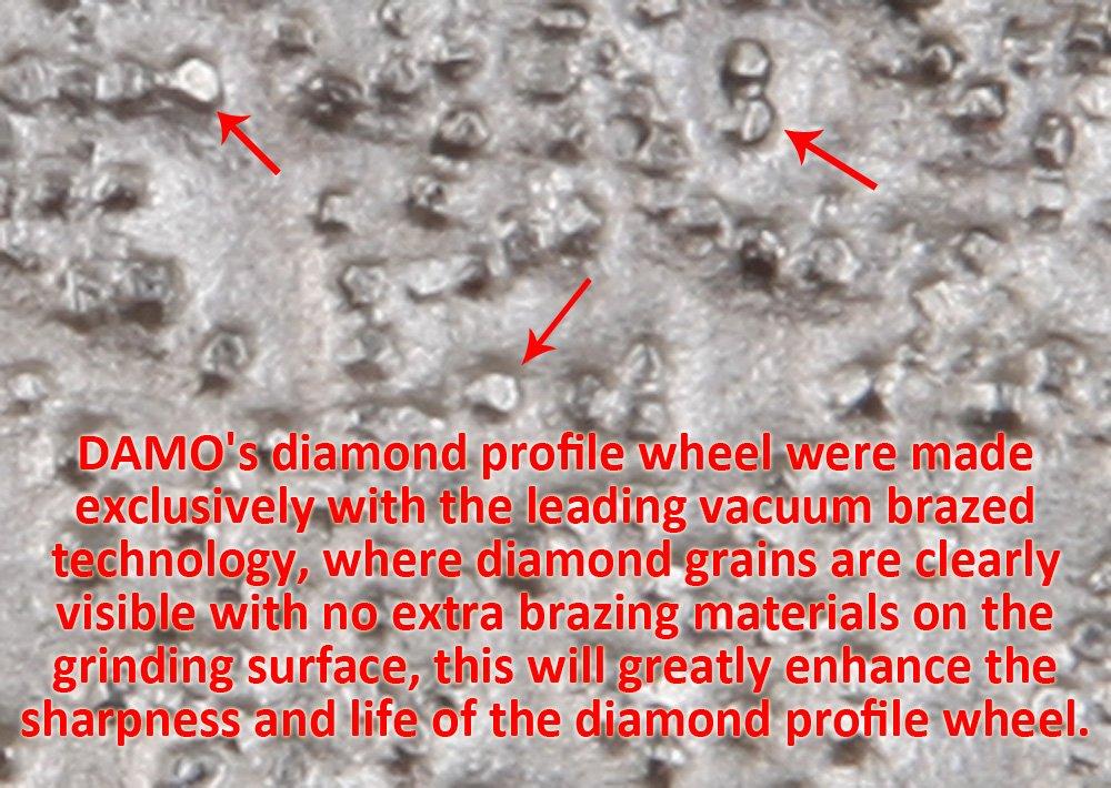 DAMO 6 inch Vacuum Brazed Diamond Profile Wheel for Tile Saw B 3/8 inch Demi Bullnose Half Bullnose for Granie Concrete Marble Countertop