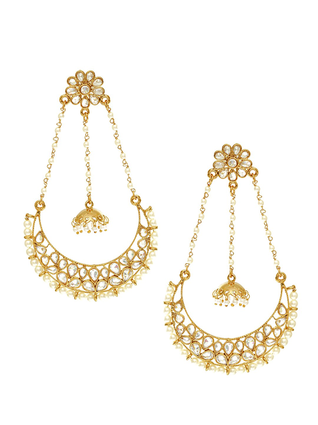 Rubans Gold Plated Traditional Indian Jewelry Bollywood Ethnic Wedding Bridal Rhinestone and Pearls Long Chandbali Earrings for Women