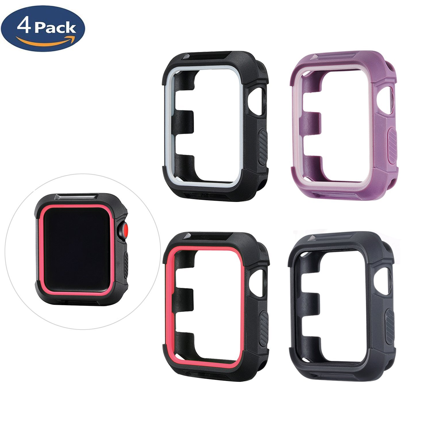 Apple Watch Cover Case 42mm [4 Pack], MAIRUI iWatch Rugged Protective Bumper Case Shock-proof and Shatter-resistant Protector for Apple Watch iWatch Series 3/2/1, Sport, Edition, Nike+