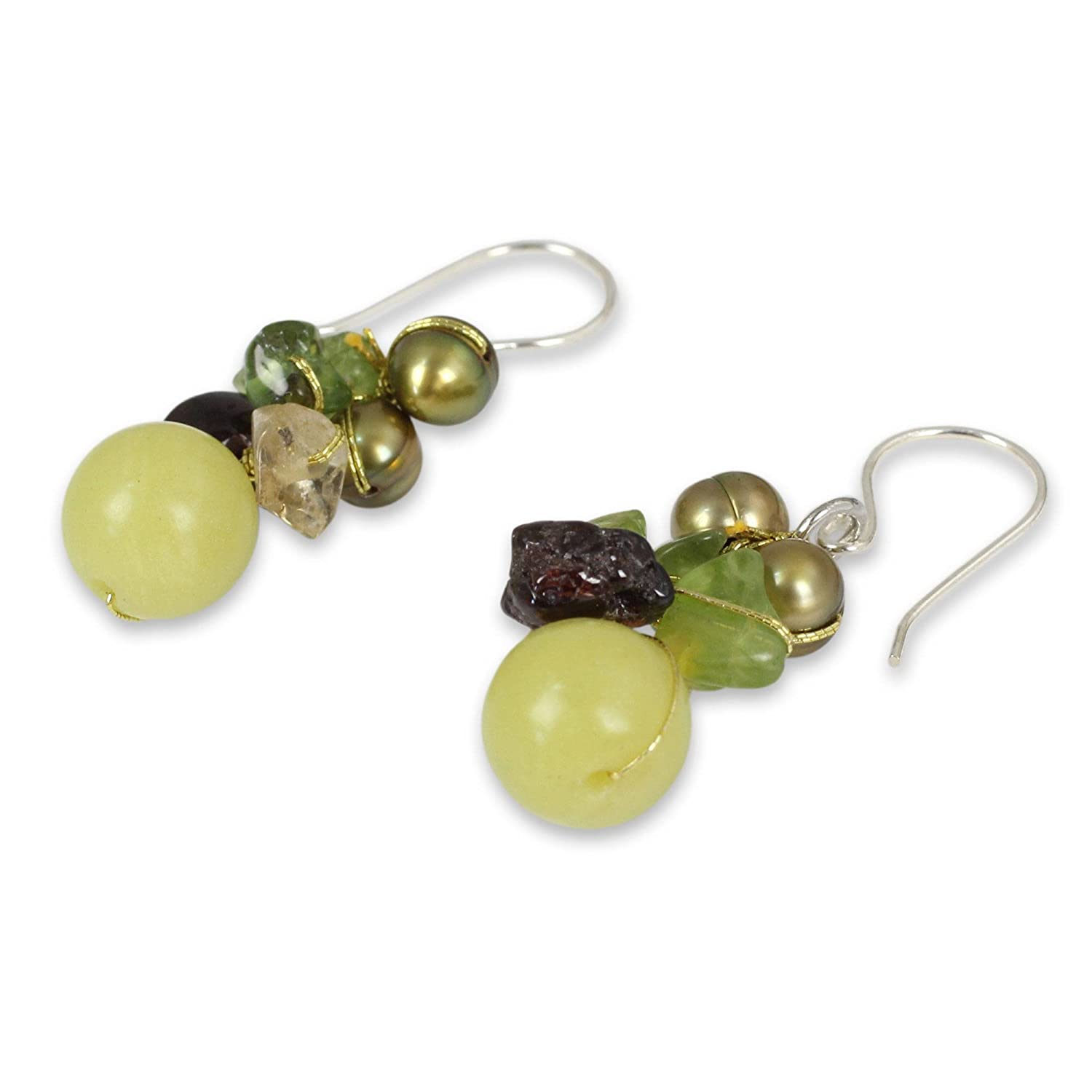 NOVICA Multi-gem Dyed Cultured Freshwater Pearl .925 Sterling Silver Cluster Earrings, Freshness