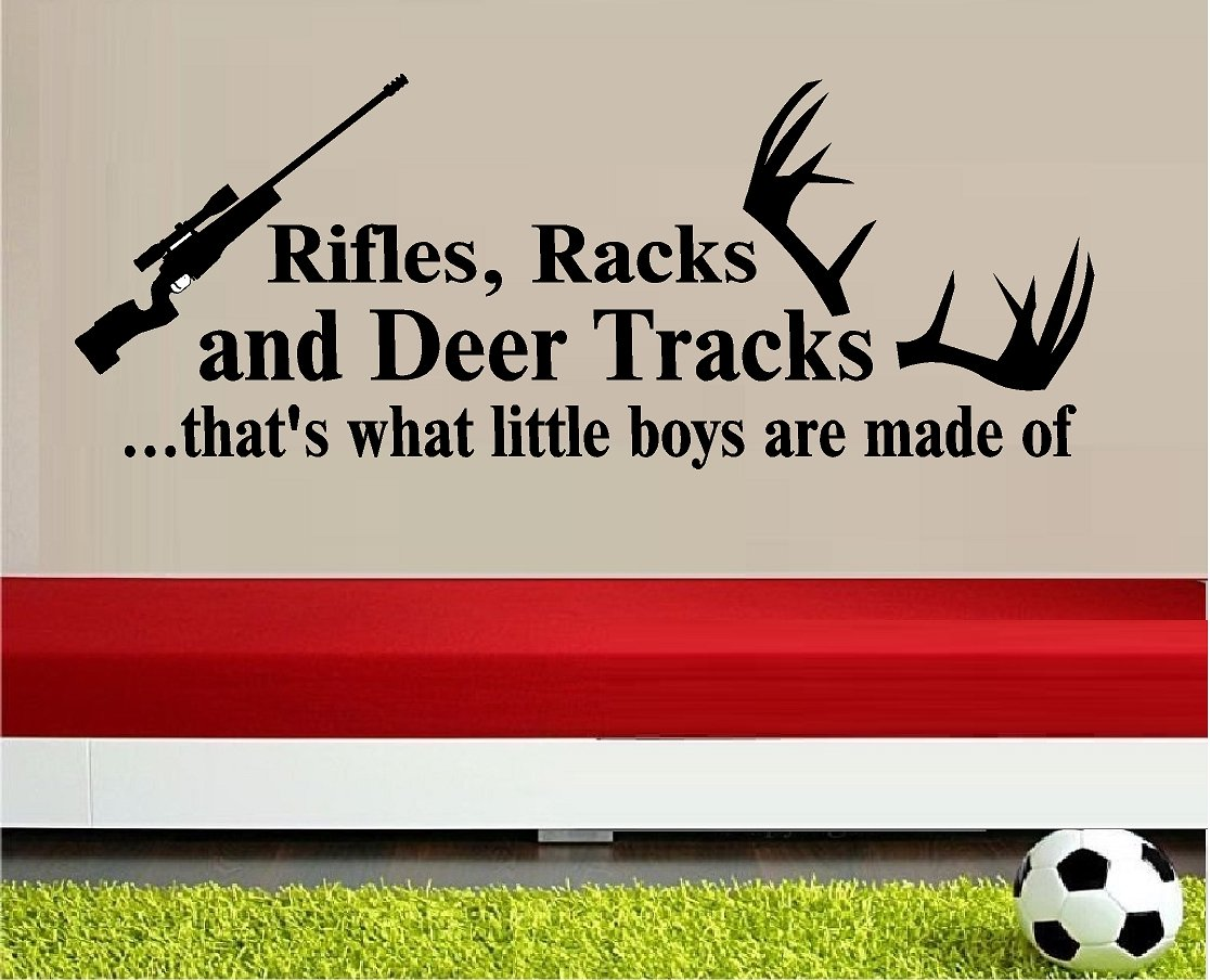 amazon com rifles racks and deer tracks thats what little boys amazon com rifles racks and deer tracks thats what little boys are made of wall decal vinyl lettering words quote home decor kids room boys with rifle