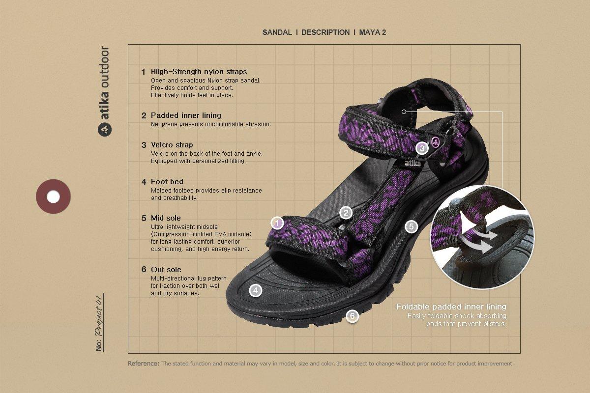 ATIKA AT-W111-MGT_Women 7 B(F) Women's Maya Trail Outdoor Water Shoes Sport Sandals W111 by ATIKA (Image #7)