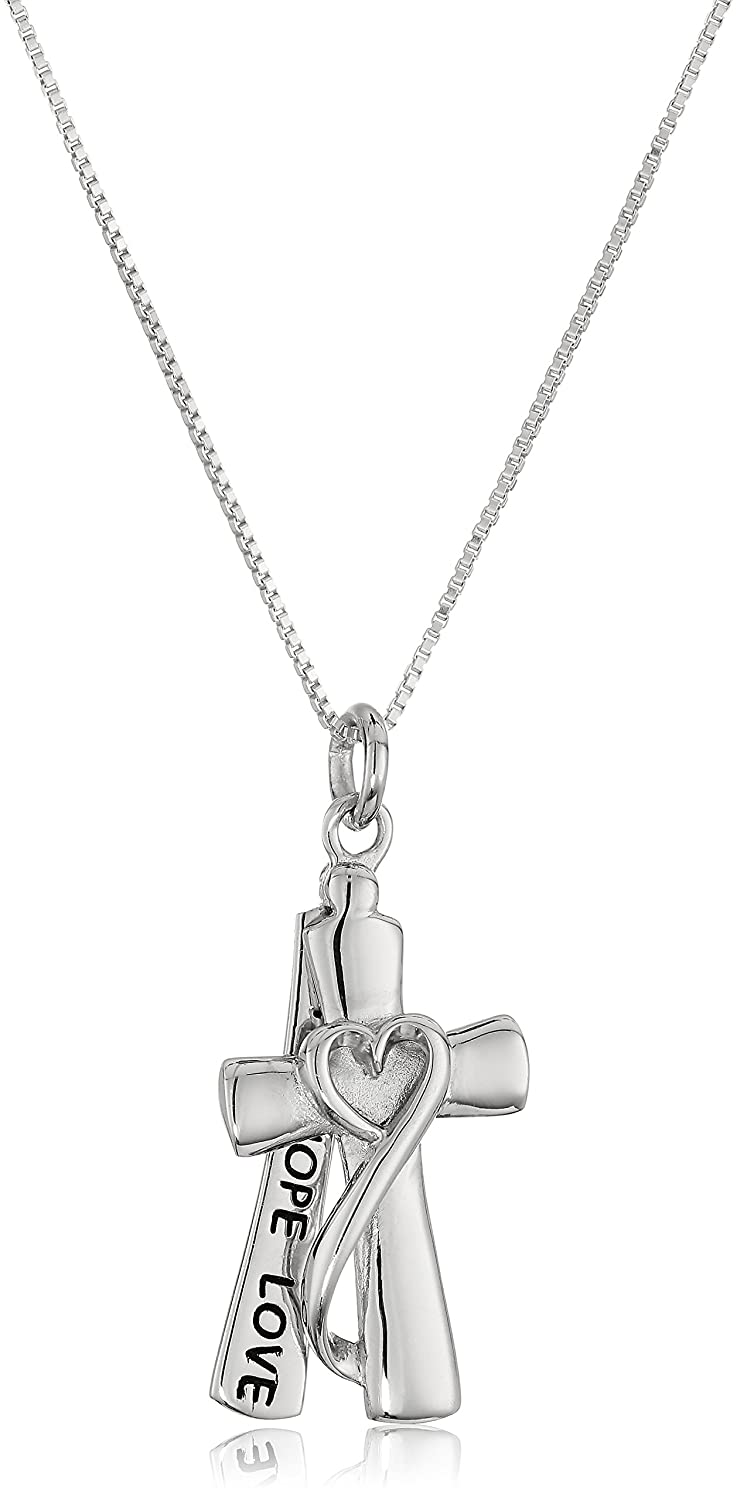 """Sterling Silver """"Faith Hope Love"""" Cross Necklace with Box Chain 18"""""""