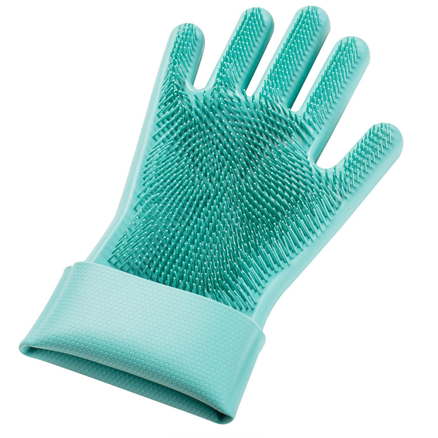 LETOOR Silicone Reusable Brush Heat Resistant Scrub Rubber Glove for Dish Cleaning Kitchen Household Washing Blue 14 IN