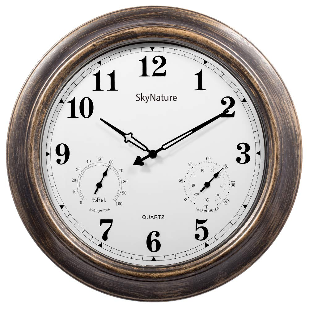 Large Outdoor Clock-18 Inch Wall Clock with Temperature and Humidity,Weather Resistance,Large Decor Clock for Patio,Pool,Living Room,Easy to Read–Copper product image