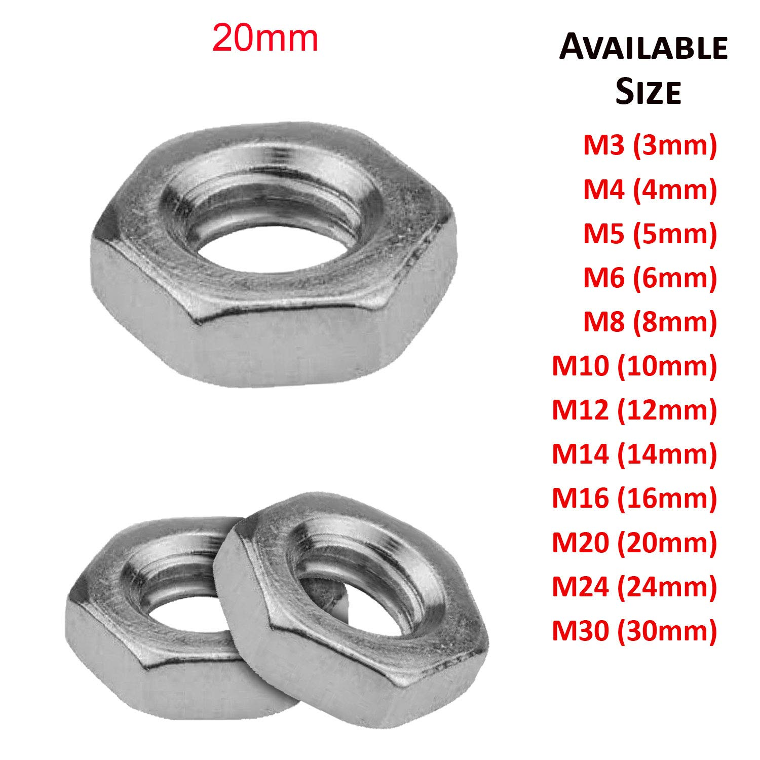 (24mm) M24 Hexagon Half Lock Nuts Bright Zinc Plated Grade 4 DIN 439 - Pack 20 SHUKAN
