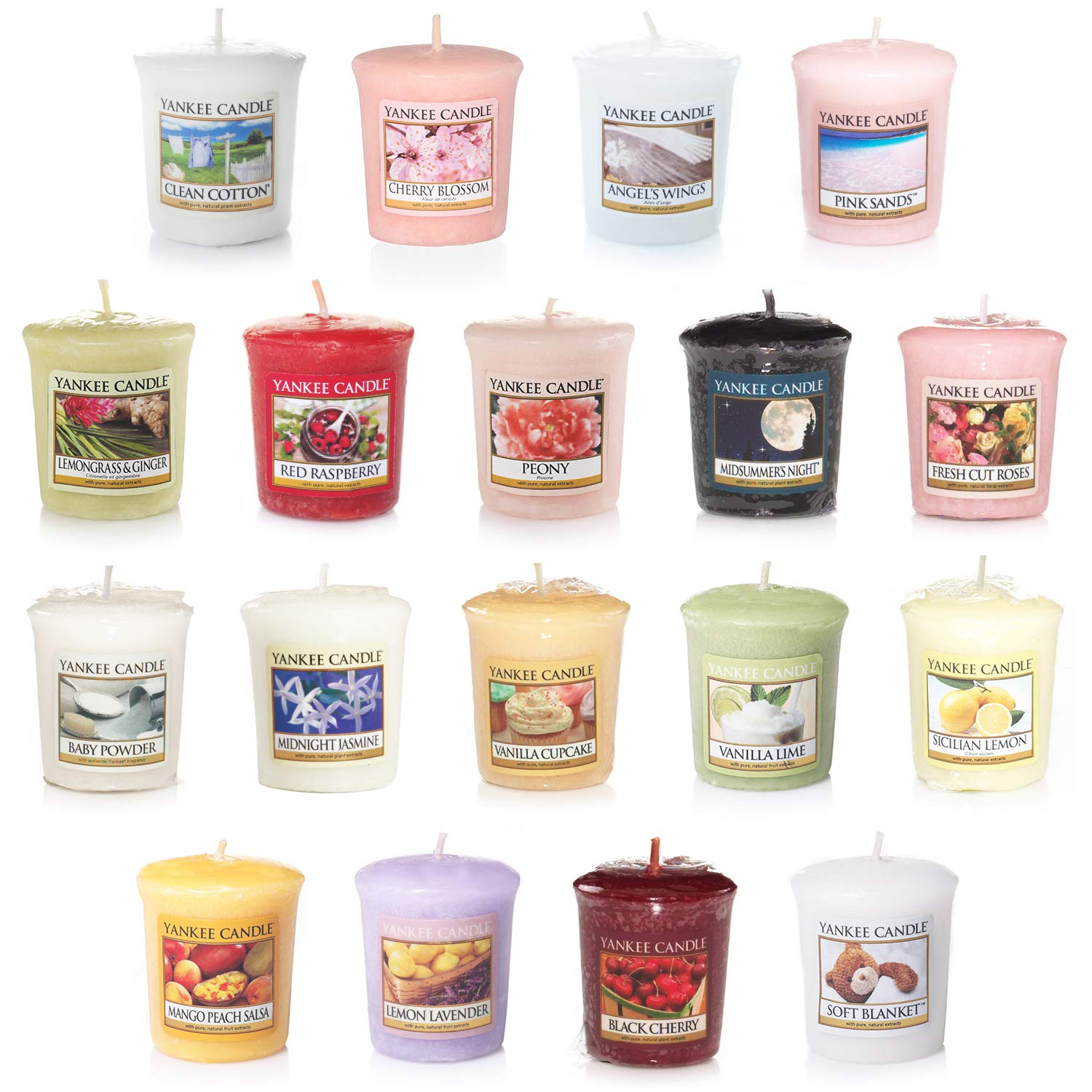 Yankee Candle Value Bundle with 18 Votive Scented Candles, Set of 18, Mixed Popular Fragrances