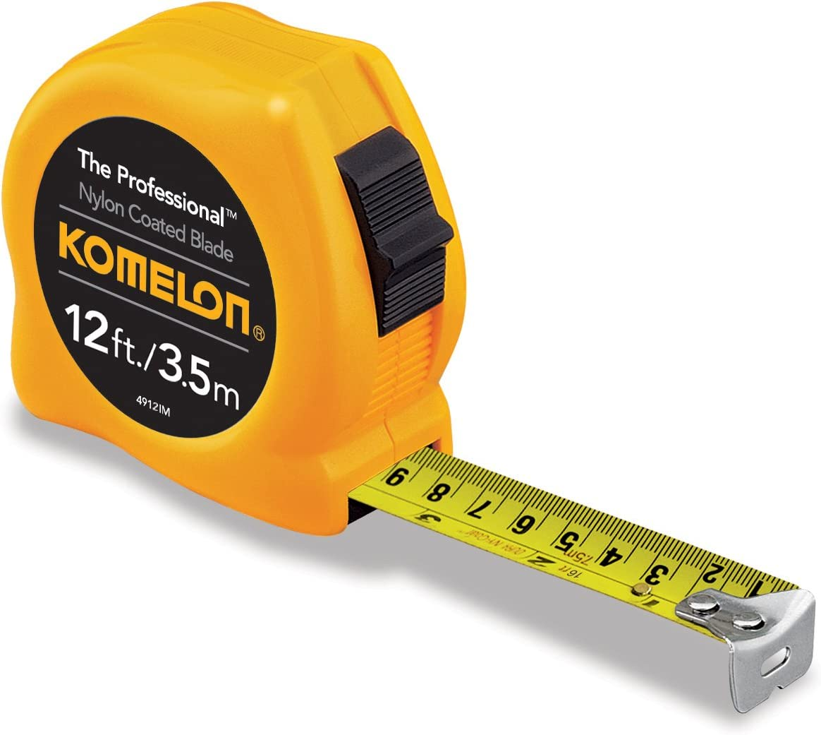 Komelon 4912IM The Professional 12-Foot Inch//Metric Scale Power Tape Yellow 2 Pack