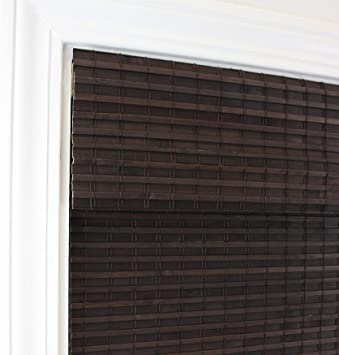 5ft 4in Long MISC 32 X 64 Espresso Brown Bamboo Cordless Roman Shade Flatstick Natural Wood Pull Down Blinds Rustic Light Filtering Privacy Weave Window Shades