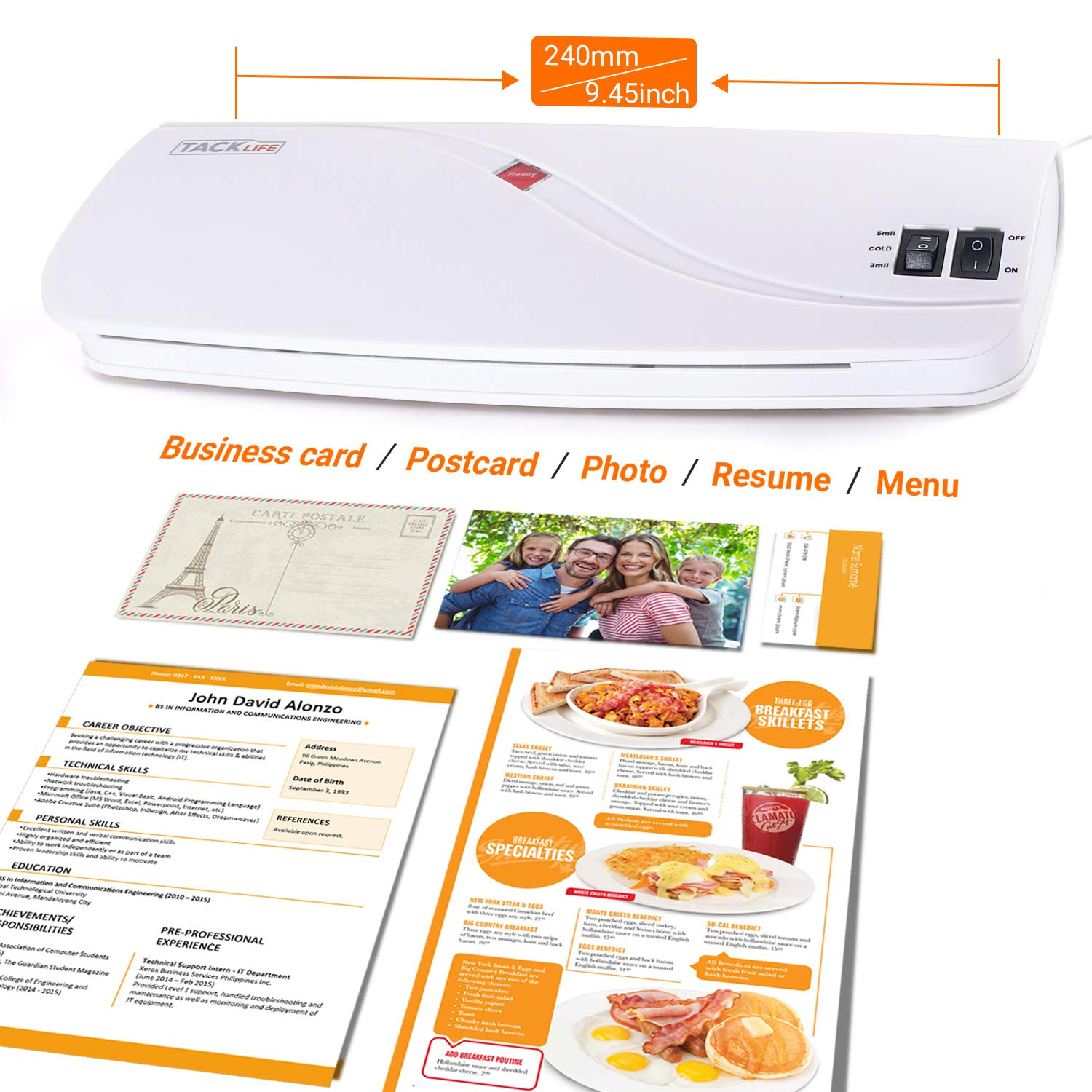 Hot /& Cold Laminating Machine with Two Heat Settings Thermal Laminator 3 Min Fast Warm-up for Office//School//Home 4A4, 3A5, 3Card Films 10 Laminator Pouches ABS Button Included MTL01