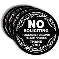 No Soliciting Sign Sticker for House, Home & Business - 4 Pack 5x5 inch - Premium Self-Adhesive Vinyl, Laminated for Ultimate UV, Weather, Scratch, Water and Fade Resistance, Indoor & Outdoor