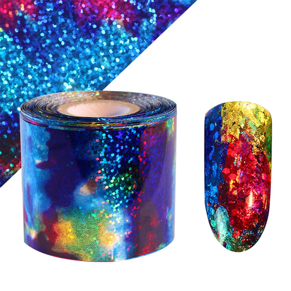 BORN PRETTY 1m Gradient Starry Sky Nail Foil Blue Holographic Paper Nail Manicure Sticker