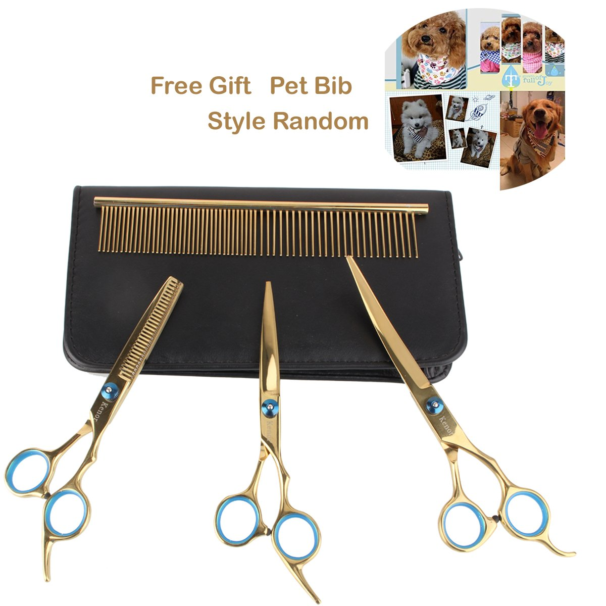 [6-in-1]Dog Grooming, Kenor Stainless Steel Premium Curved Scissor Set Professional PET DOG Home Grooming Scissors Suit Cutting Curved Thinning Shear, with a Free Gift Pet Triangle