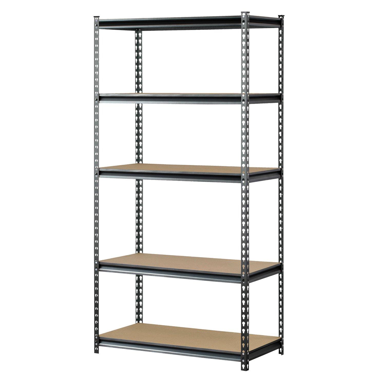 Muscle Rack UR361872PB5PAZ-SV Silver Vein Steel Storage Rack, 5 Adjustable Shelves, 4000 lb. Capacity, 72'' Height x 36'' Width x 18'' Depth by Muscle Rack