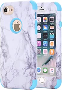Ankoe iPhone 7 Case, iPhone 8 Case, White Marble Stone Pattern Shockproof Full Body Protective Cover Dual-Layer Slim Soft Flexible Silicone and Hard PC for Apple iPhone 7/8 (Blue)