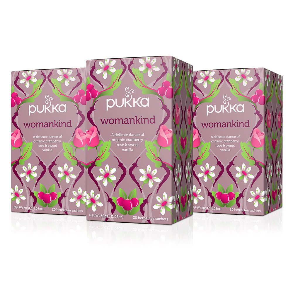Pukka Womankind, Organic Herbal Tea with Shatavari, Cranberry & Rose Flower (3 Pack, 60 Tea Bags) by Pukka Herbs