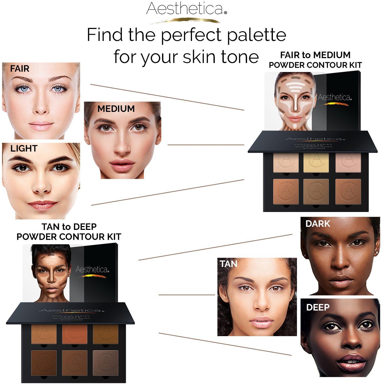 Amazon.com : Aesthetica Cosmetics Contour Kit - Powder Contour, Highlighter & Bronzer - Fair to Medium Skin Tones : Beauty