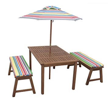 4 Piece Kids Picnic Table Wooden Dining Set With Umbrella Chairs And  Cushions