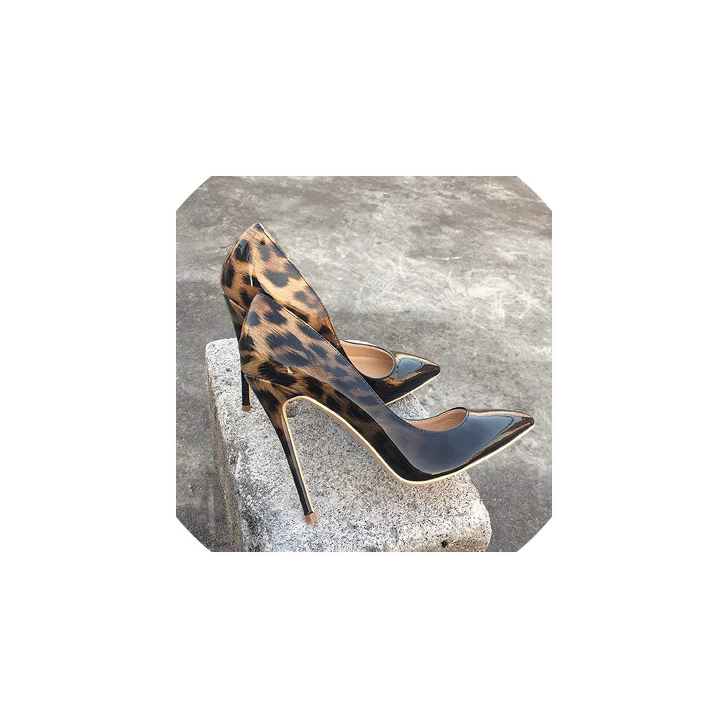 Black Leopard 10cm Perfect-looking Women Leopard Patent Leather Pumps Pointed Toe 8-12Cm Stiletto Ultra High Heel