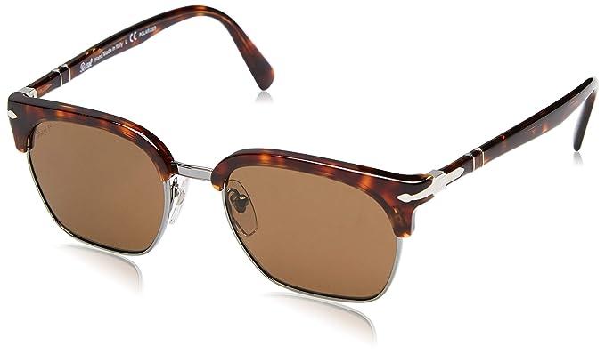 Persol 24/57 Gafas de sol, Rectangulares, Polarizadas, 52, Havana
