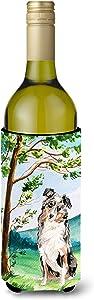 Caroline's Treasures CK2030LITERK Under the Tree Australian Shepherd Wine Bottle Beverage Insulator Hugger, Wine Bottle, multicolor