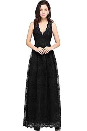 2017 Womens Deep V Neck Lace A Line Bridesmaid Prom Gala Gowns Black US2