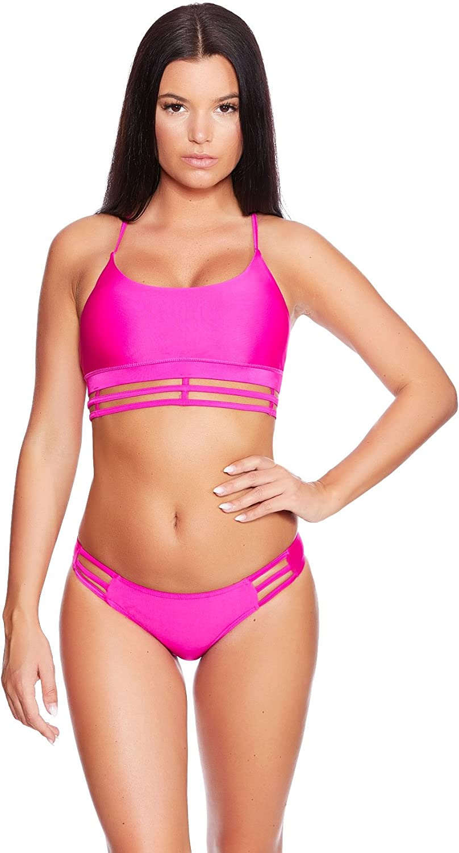 Bikini Set Slip BH Bademode Badeanzug Bade Anzug Neckholder Schwarz Pink 2tlg