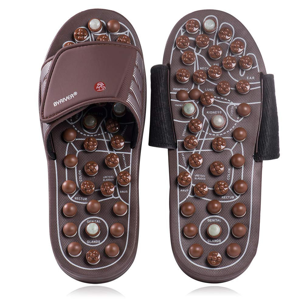 Byriver Pantoufles pour massage des pieds en pierre de jade Acupoint Chaussures de r/éflexologie Sandales pour homme et femme