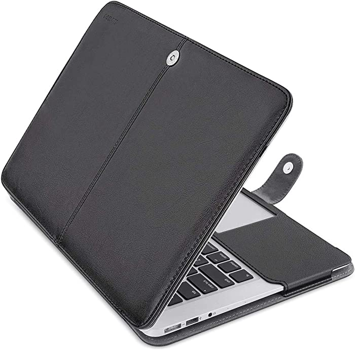 MOSISO MacBook Air 13 inch Case, Premium PU Leather Case Book Folio Protective Stand Cover Sleeve Compatible with MacBook Air 13 inch A1466 / A1369 (Older Version Release 2010-2017), Black