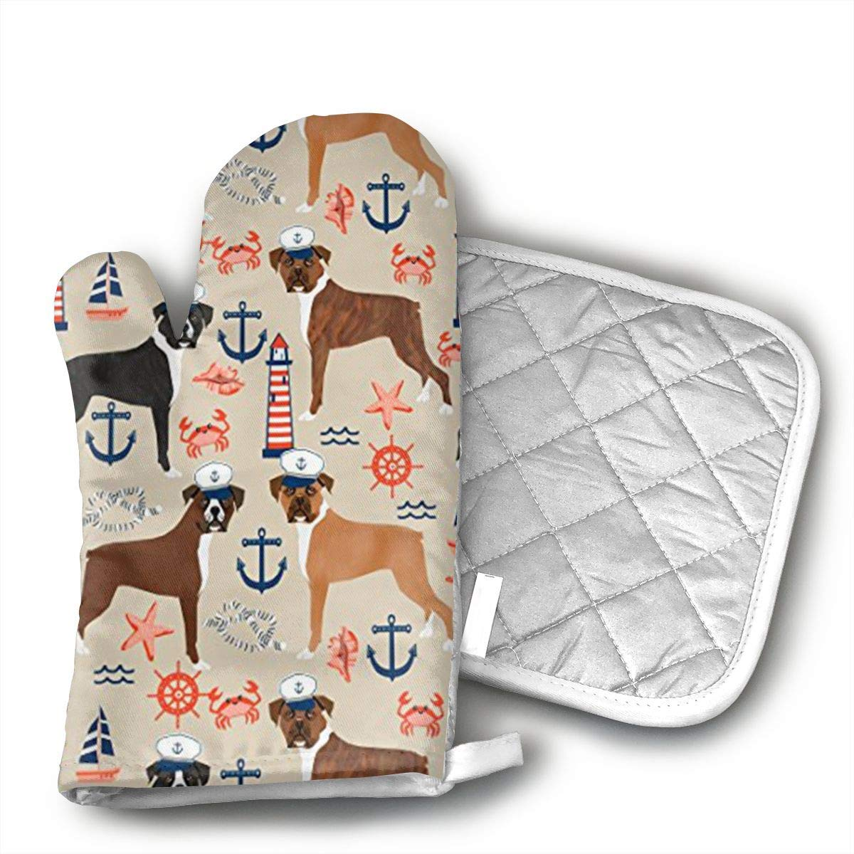 QEDGC Boxer Nautical Summer Tropical Dogs Oven Hot Mitts Professional Heat Resistant Pot Holder & Baking Gloves