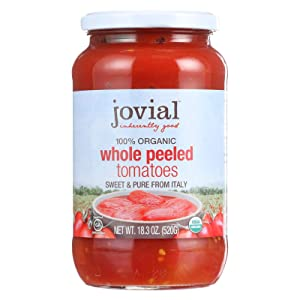 Jovial Whole Peeled Tomatoes | Non-GMO Project Verified | USDA Certified Organic | No Additives | All Natural | BPA-Free | No Added Salt or Sugar | Recyclable Glass | Made in Italy | 18.3 oz (6 pack)