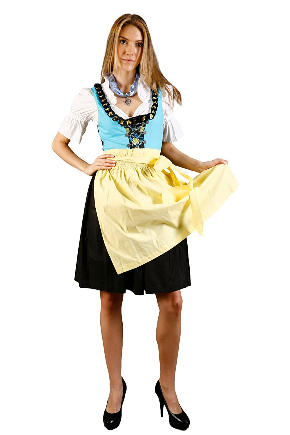 Trachtenjager Mini Dirndl 3-Light Blue Yellow Black With Matching Blouse And Skirt Size 38