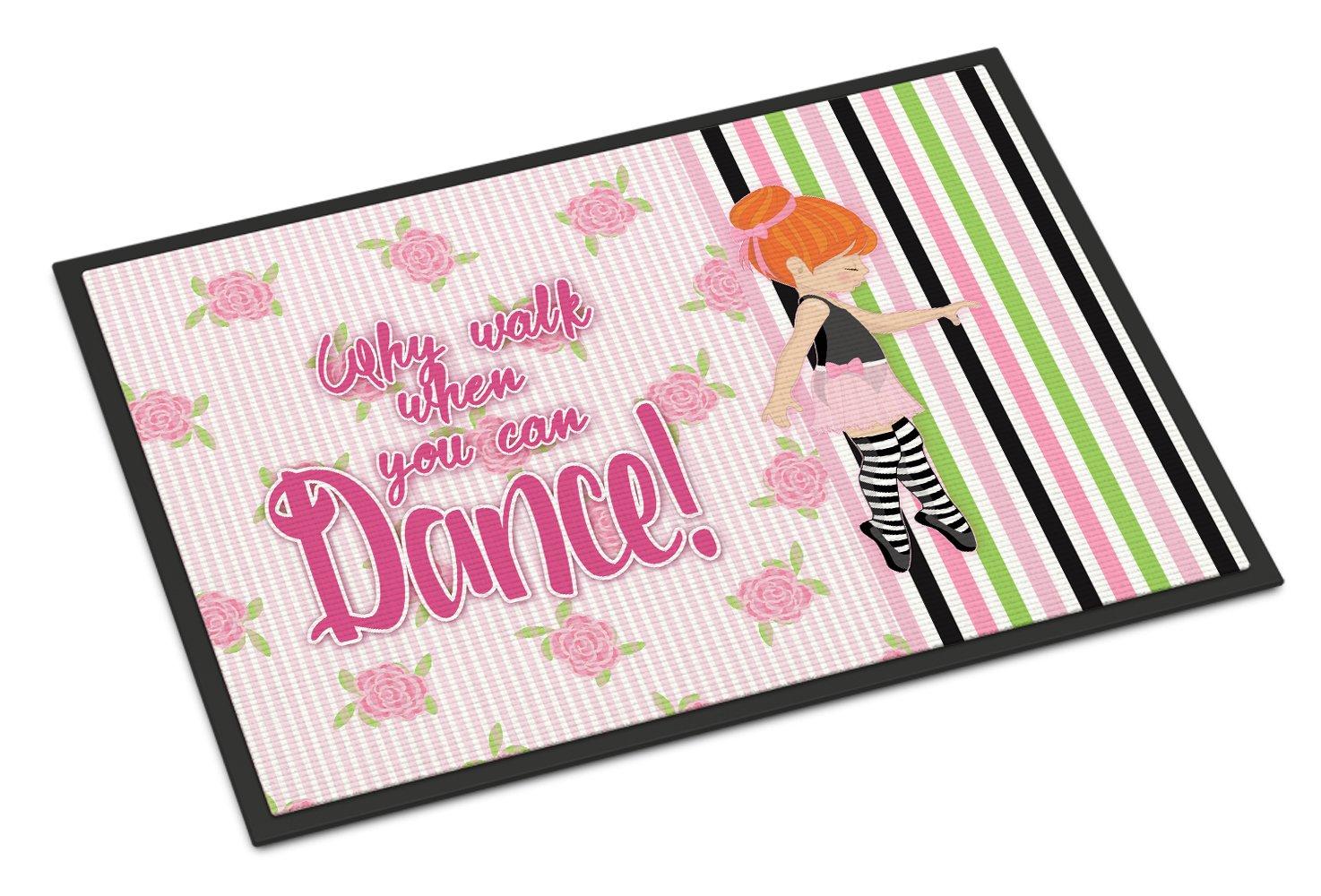 Caroline's Treasures Ballet Dance Stripes Red Hair Doormat, 18 H x 27 W'', Multicolor