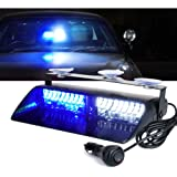 Xprite White Blue 16 LED High Intensity Emergency Hazard Warning Strobe Lights w/Suction Cups for Police Law Enforcement…