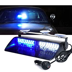 Xprite White & Blue 16 LED High Intensity LED Law Enforcement Emergency Hazard Warning Strobe Lights For Interior Roof/Dash / Windshield With Suction Cups