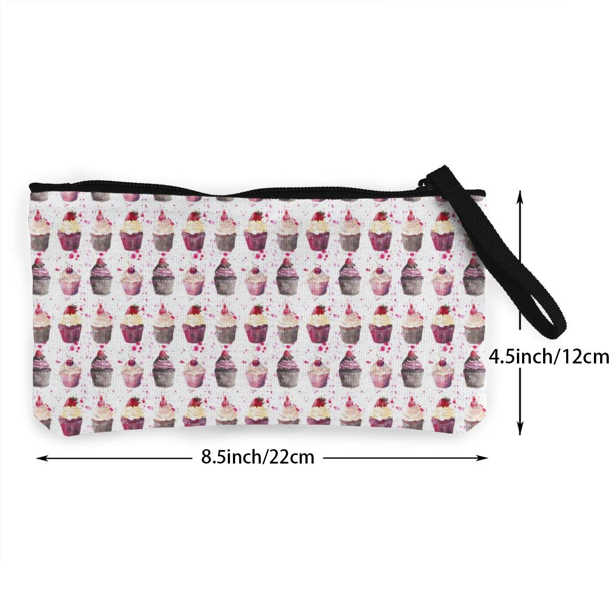 YUANSHAN Strawberry Cup Cake Unisex Canvas Coin Purse Change Cash Bag Zipper Small Purse Wallets with Handle
