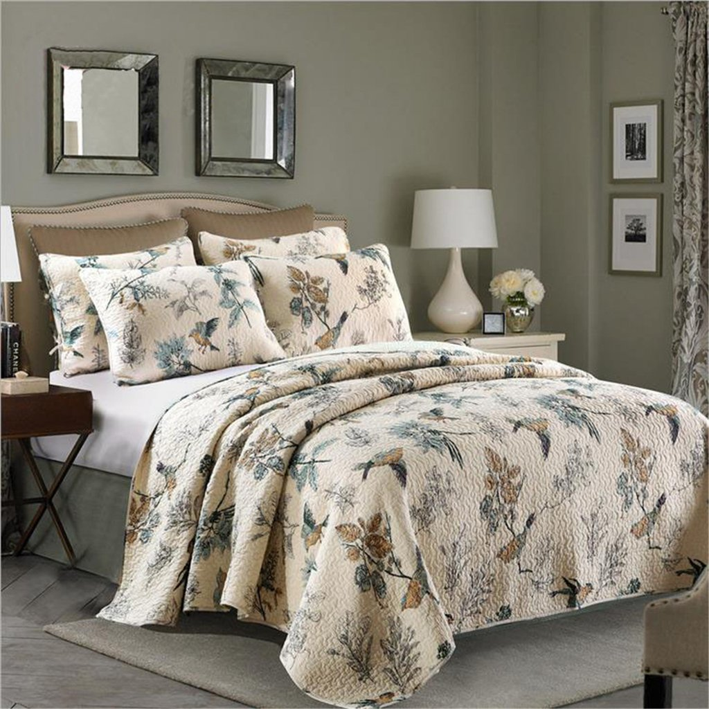 Flying Birds Printing 3 Piece Cotton Bedspread/Quilt Sets, Queen
