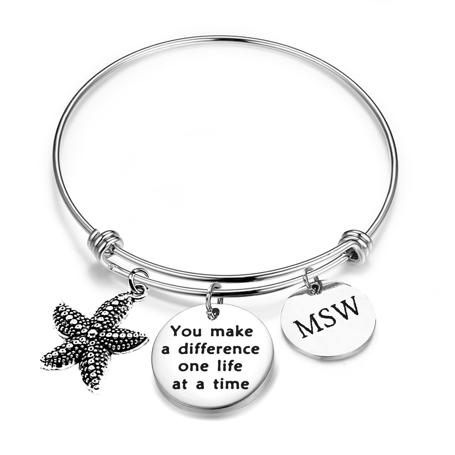 ENSIANTH Social Worker Gifts MSW Graduation Bracelet You Make A Difference Jewelry Starfish Bracelet (MSW Bracelet)