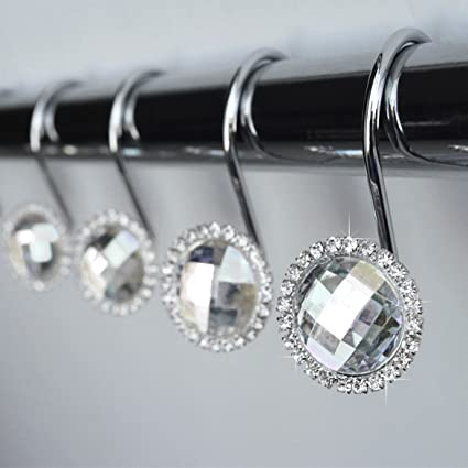 Amazon Com Shower Curtain Hooks Rings Clear Decorative Diamond