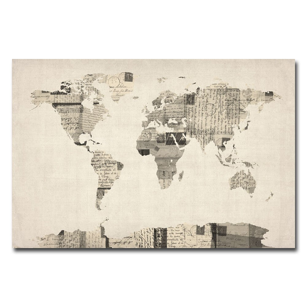 Amazon vintage postcard world map by michael tompsett 22x32 amazon vintage postcard world map by michael tompsett 22x32 inch canvas wall art home kitchen gumiabroncs Image collections