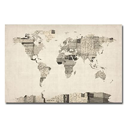 Amazon vintage postcard world map by michael tompsett 22x32 vintage postcard world map by michael tompsett 22x32 inch canvas wall art publicscrutiny Image collections