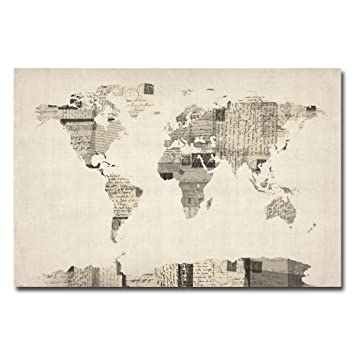 Amazon vintage postcard world map by michael tompsett 22x32 vintage postcard world map by michael tompsett 22x32 inch canvas wall art gumiabroncs Gallery