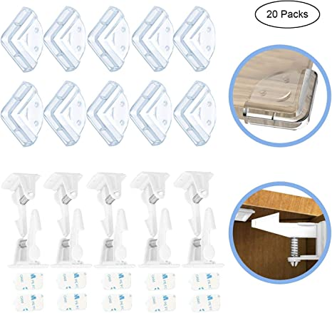 ofun 10 Pack Seguridad Cerradura para armario, no requiere herramientas o agujeros Seguridad Cajón candados para cajones, armarios, armarios & 10 Packs protectores de esquinas: Amazon.es: Bebé