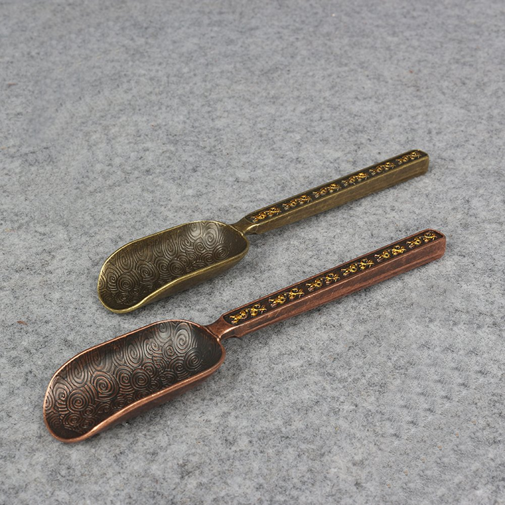 Mike Home Chinese Kung Fu Copper Tea Scoop Handmade Kung Fu tea set Tea Spoon 1 Pcs (Antique Red) by Mike Home (Image #3)