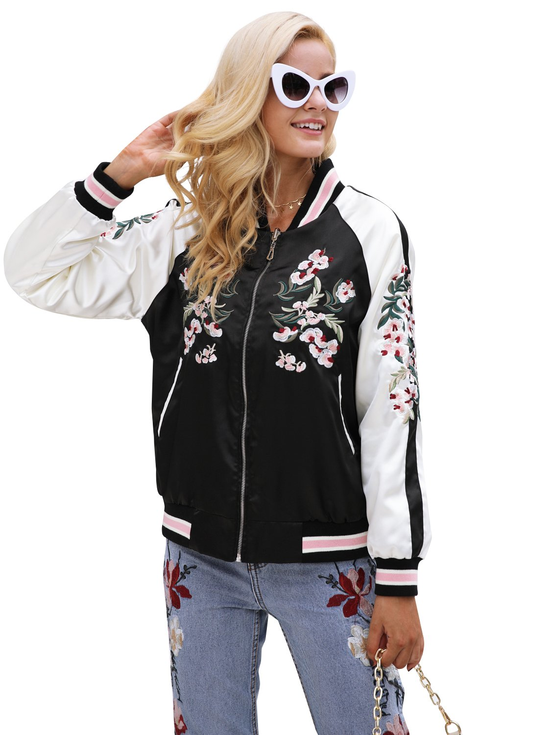 Simplee Women's Casual Floral Embroidery Reversible Satin Bomber Jacket OW550