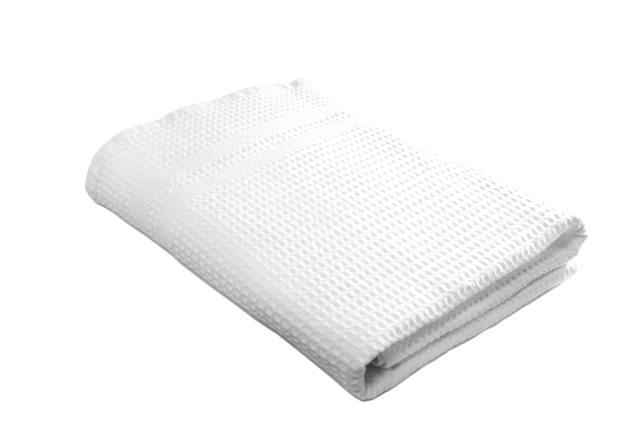 Gilden Tree Quick Dry Bath Towel Waffle Weave Luxury Bath Towels - Thin Eco-Friendly White Towels for Bathroom, Gym, Beach, Boat, Spa, Travel, Shower Towel (White)