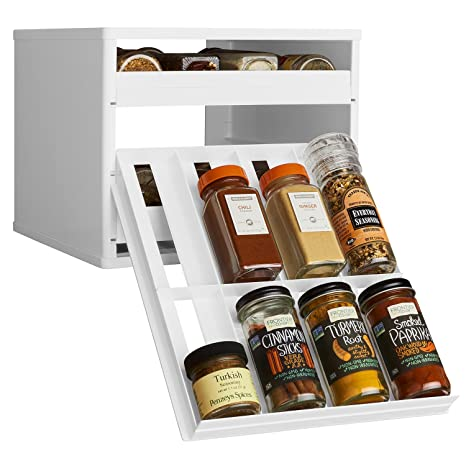 YouCopia Classic SpiceStack 24 Bottle Spice Organizer With Universal Drawers,  White
