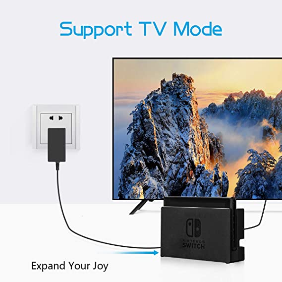 Switch Charger for Nintendo Switch/Switch Lite/Pro Controller/Switch Dock with 5ft Type C Cable,Support TV Mode,2.5 Hours Fast Travel Wall ...